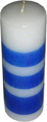Madhulica Candles MADHULICA BLUE AND WHITE PILLER PACK OF 1 PCS Candle(Multicolor, Pack of 1)