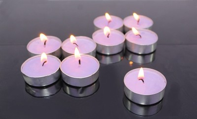 Hosley Fragranced Lavender Tea Light Candles Candle(Purple, Pack of 30)