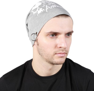 Noise Focus on Airking Dark Grey Beanie With Ring Printed Skull Cap
