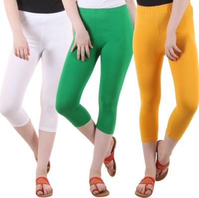 DIAZ Women White, Green, Yellow Capri DIAZ Women's Capris