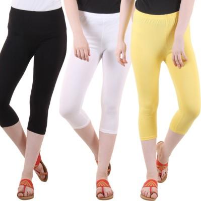 DIAZ Women White, Black, Yellow Capri DIAZ Women's Capris