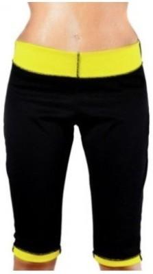 IBS Hot Shapers Super Strech Neotex Pants Knee Yoga Exercise Hotshapers Wonder Tummy Trimmer Thigh Women's Black Capri