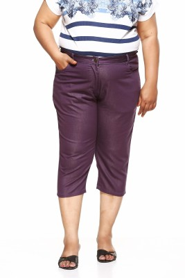 Pluss Women Purple Capri at flipkart