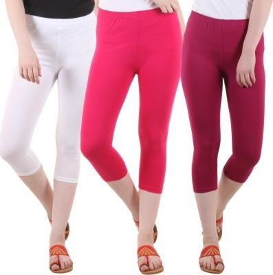 DIAZ Women White, Maroon, Pink Capri DIAZ Women's Capris