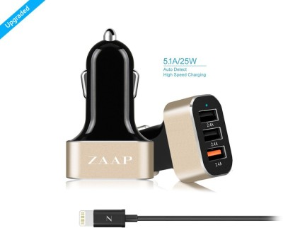 Zaap-7.2A-3-Port-USB-Car-Charger-(With-8-Pin-Apple-Cable)