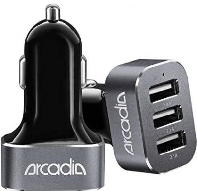 Arcadia-6.6A-Triple-USB-Car-Charger