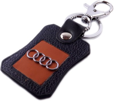 Aditya Traders Classy 'Audi' Original Leather With Superior Metal Designer keychain Locking Carabiner(Black)
