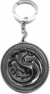 GCT Game of Thrones House Targaryen Fire and Blood Three-headed Dragon Sigil Silver Metal Key Chain(Silver)  available at flipkart for Rs.236