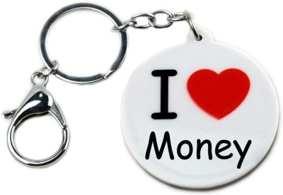 CTW I love Money Heart Circle Shape Locking Key Chain(White)  available at flipkart for Rs.174