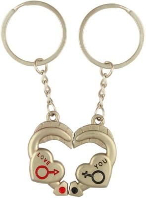 CTW Love You Metal Heart Pair Keychain Key Chain(Silver)