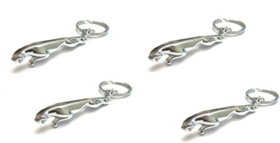 Chainz Pack of 4 Metal Jaguar Key Chain(Silver)