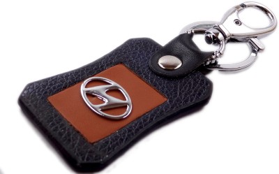 Aditya Traders Classy 'HYUNDAI' Genuine Leather Stylish Car Locking Carabiner(Black)