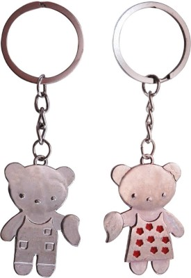 CTW Cute Couple Love Heart Teddy Bear Keyring Metal Key Chain(Silver)  available at flipkart for Rs.192