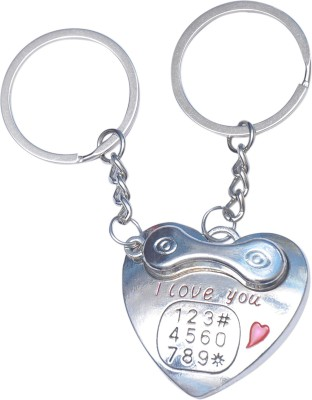 CTW Heart Landline Phone Receiver I love You Metal Key Chain(Silver)  available at flipkart for Rs.189