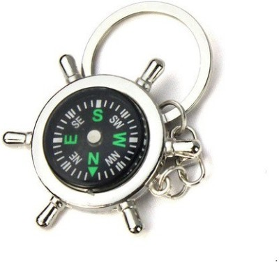 Ezone Ring Stylish Round Compass Key Chain(Silver)