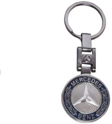 Ezone Round Mercedes Metal Key Chain(Silver)