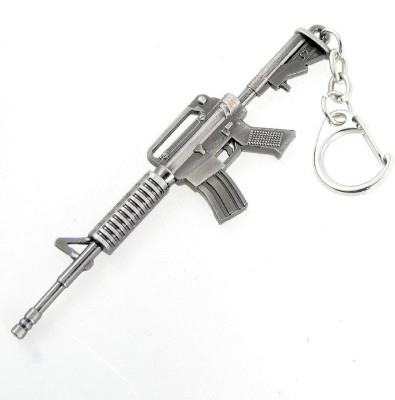 ShopnGift Gun Shaped-002 Unisex Locking Key Chain(Silver)