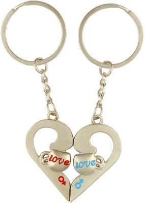 CTW Love You Heart Of Pair Metal Keychain Key Chain(Silver)