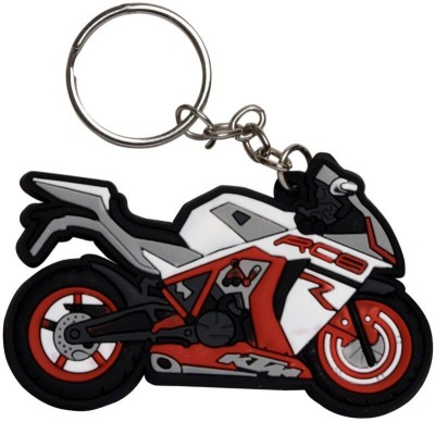 GCT KTM RC8 Logo Red White Synthetic Rubber Bike Design-A Key Chain(Red)  available at flipkart for Rs.161