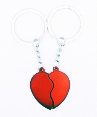 Indigo Creatives Lovers Red Heart Couple Magnetic Cojoining Set Key Chain(Red)