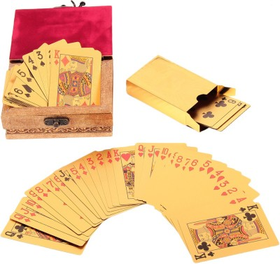 Jewel Fuel 24k Gold Playing Cards with Wooden Box
