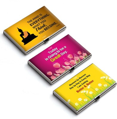 QuoteSutra 10 Card Holder(Set of 3, Pink, Yellow)