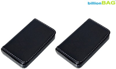 Billionbag Full Soft Double Black Leather 15 Card Holder(Set of 2, Black)
