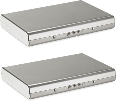 Billiondeal High Quality | Combo of 2 | Steel Plain Executive Pocket ATM And 1 Steel Card Holder And 1 Steel Card Holder 6 Card Holder(Set of 2, Silver)