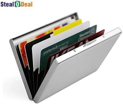Stealodeal Stainless Steel Pocket Business Credit Debit 6 Card Holder(Set of 1, Silver)