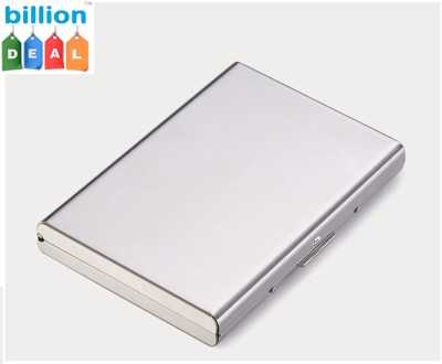 Billionbag Steel White Leather Aluminium Silver ATM 6 Card Holder(Set of 1, Silver, White)