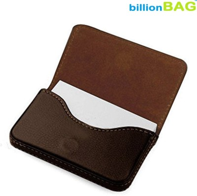 Billionbag Soft Brown Leather Business Visiting 15 Card Holder(Set of 1, Brown)