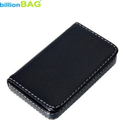 Billionbag Soft Black Leather Premium Visiting 15 Card Holder(Set of 1, Black)