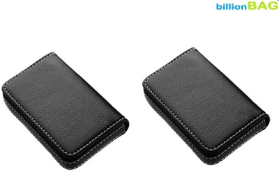 Billionbag Full Soft Black Leather (Pack of 2) 15 Card Holder(Set of 2, Black)
