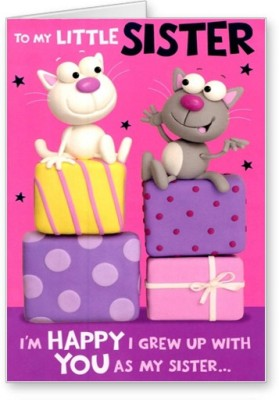 53 OFF On Lolprint Happy Birthday Little Sister Greeting CardMulticolor Pack Of 1 Flipkart