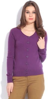 United Colors of Benetton Women Button Solid Cardigan at flipkart