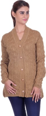 eCools Women Button Woven, Solid Cardigan