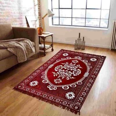 Supreme Home Collective Maroon Chenille Carpet(152 cm  X 213 cm) at flipkart