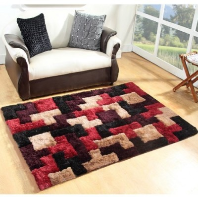 Excel Bazaar Maroon Polyester Carpet(120 cm  X 180 cm) at flipkart