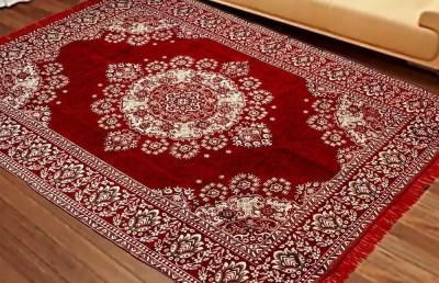 Krishna Creations Maroon Velvet Carpet(150 cm  X 210 cm)