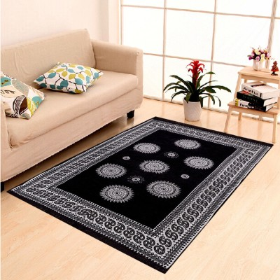 AERONIANS Black Chenille Carpet(140 cm  X 204 cm) at flipkart
