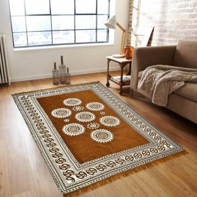 Stella Creations Gold Velvet Carpet(150 cm  X 210 cm) at flipkart