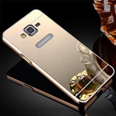 JKR Back Cover for JKR Luxury Metal Bumper + Acrylic Mirror Back Cover Case For SAMSUNG GALAXY E7 GOLDEN PLATED(Gold, Metal)