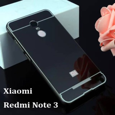 TRUE Back Cover for Metal Bumper Plus Acrylic Mirror Back Cover For Xiaomi Redmi Note 3 (Black)(TRUE BLACK, Metal)