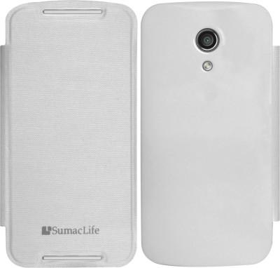 SumacLife Flip Cover for Motorola G 2nd, Motorola Moto G (2nd Generation)(White, Plastic)