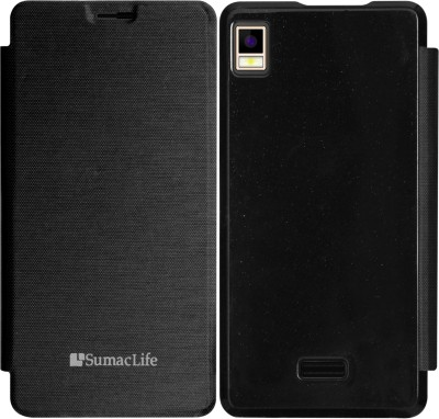 SumacLife Flip Cover for Intex Aqua Star(Black, Plastic)