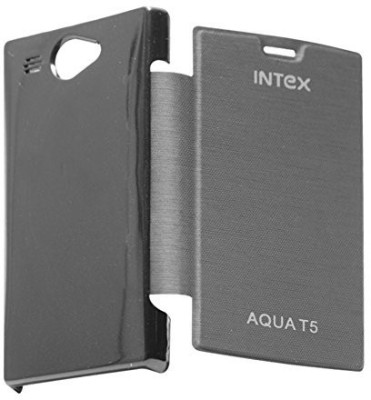 Sun Tigers Flip Cover for Intex Aqua T5(Black, Plastic)