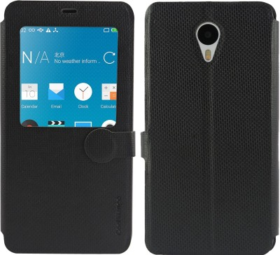 Cool Mango Flip Cover for Meizu M1 Note(Royal Black, Artificial Leather)