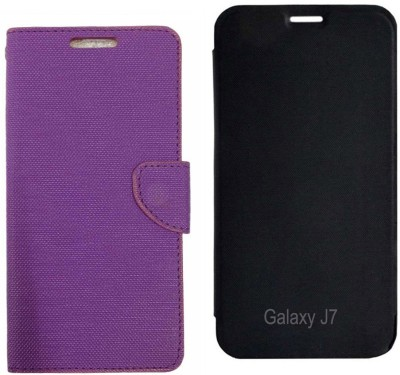 ZYNK CASE Flip Cover for Samsung Galaxy J7 - 6 (New 2016 Edition)(Purple:Black, Artificial Leather)