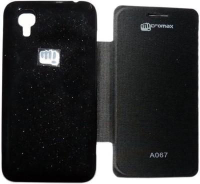 Satia Flip Cover for Micromax Bolt A067(Black, Artificial Leather)
