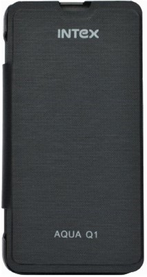 Coverage Flip Cover for Intex Aqua Q1(Black, Artificial Leather, Plastic) Flipkart